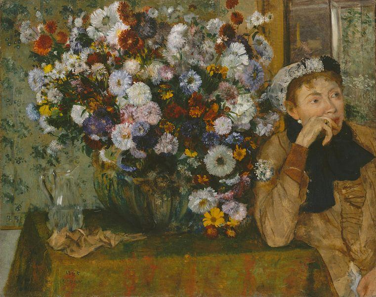 Eine Frau gesetzt neben einer Vase mit Blumen (Madame Paul Valpinçon?), Edgar Degas von Meesterlijcke Meesters