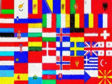 Europese vlaggen impressionistisch