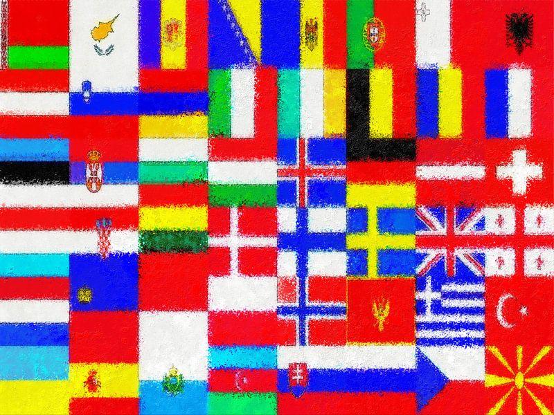 Europese vlaggen impressionistisch van Frans Blok