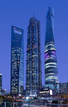 Hoogste wolkenkrabbers van Shanghai bij het financiële district Pudong van Tony Vingerhoets