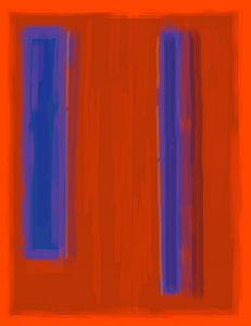 Abstract schilderij met rood en blauw