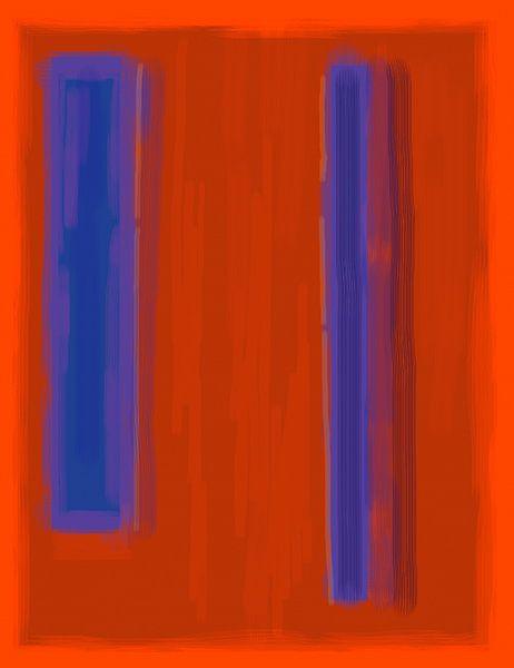 Abstract schilderij met rood en blauw van Rietje Bulthuis
