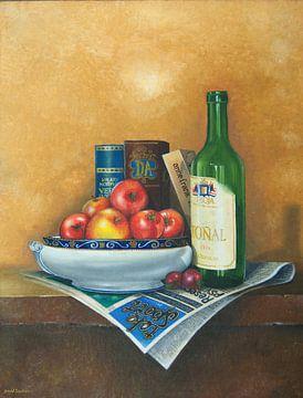 Stilleben mit Schüssel, Tomaten und Weinflasche von David Soekana