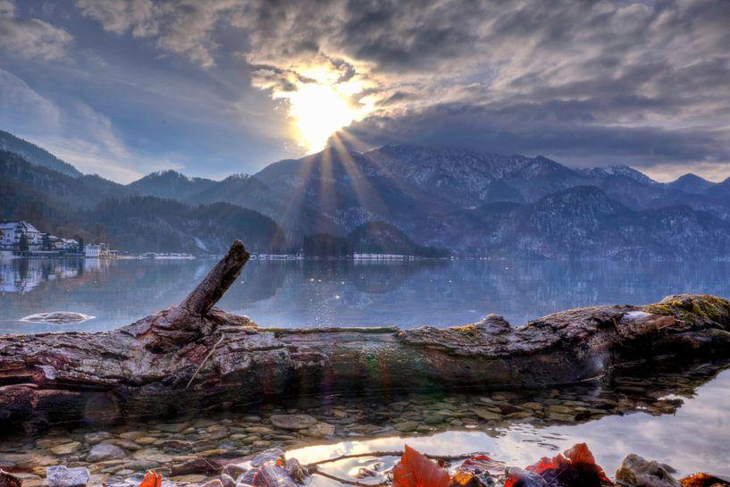 Senkende Sonne am Kochelsee von Roith Fotografie