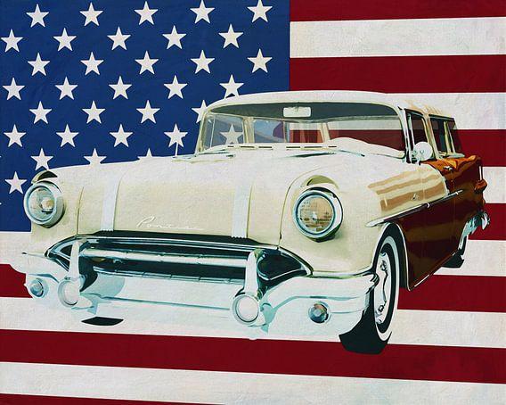 Pontiac Safari Station Wagon 1956 met vlag van de V.S.