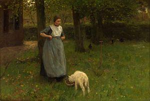 Vrouw met geitje in Laren, Anton Mauve