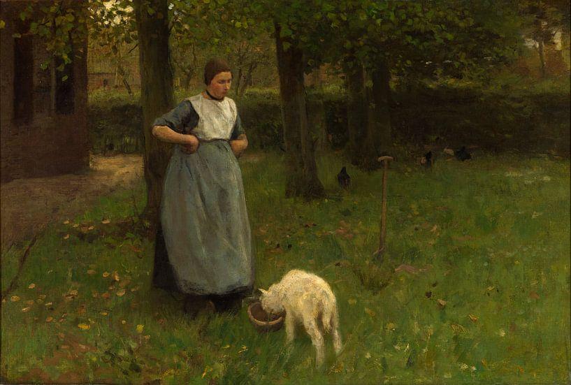 Vrouw met geitje in Laren, Anton Mauve van Meesterlijcke Meesters