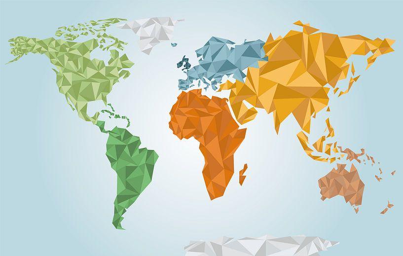 Kleurrijke geometrische wereldkaart van Nynke Altenburg