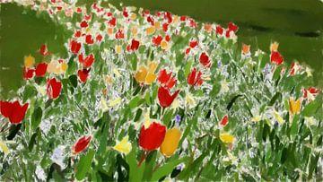 Fleurs colorées dans l'herbe verte - III - Peinture