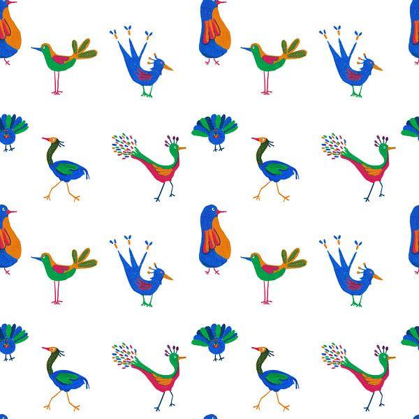 Doorlopend patroon met vrolijke vogels van Ivonne Wierink