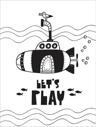 Kinderkamer Zwart Wit - Sea Adventure let's Play -Print van STUDIO 68