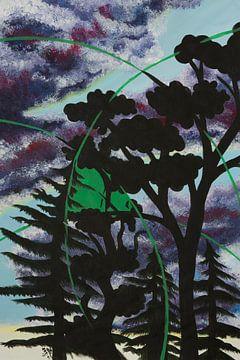 bomen en bos | abstract schilderij van Vera Zuur