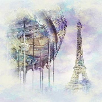 Paris typique | Style aquarelle sur