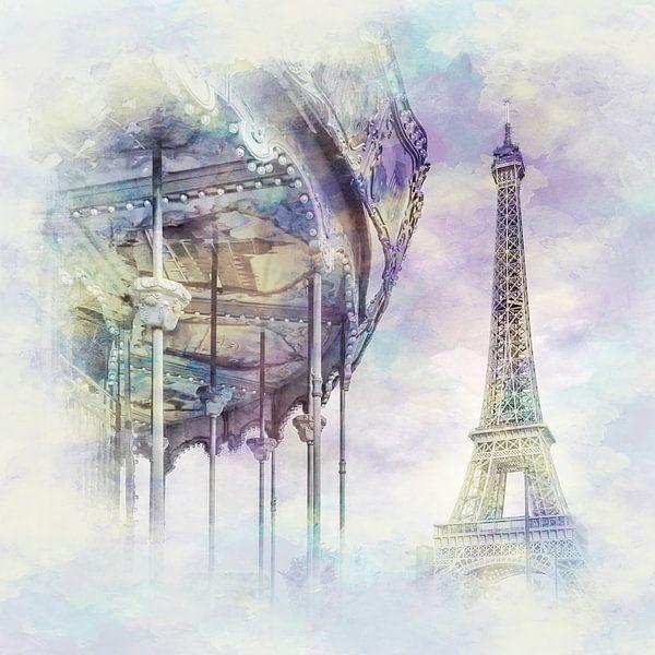 Typisch Parijs | Aquarel Stijl van Melanie Viola