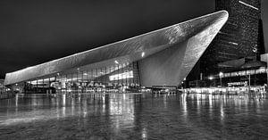 Avondfoto Rotterdam Centraal Station in zwart-wit van