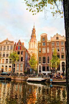 Kloveniersburgwal 50 Amsterdam in de avond van Hendrik-Jan Kornelis