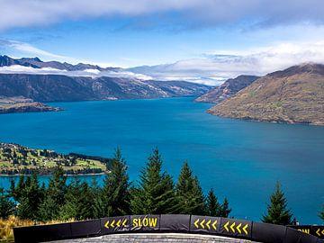 Uitzicht op Lake Wakatipu nabij Queenstown in Nieuw-Zeeland van Rik Pijnenburg