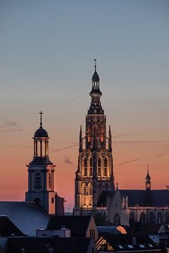 Breda - Grote Kerk - Zonsondergang van