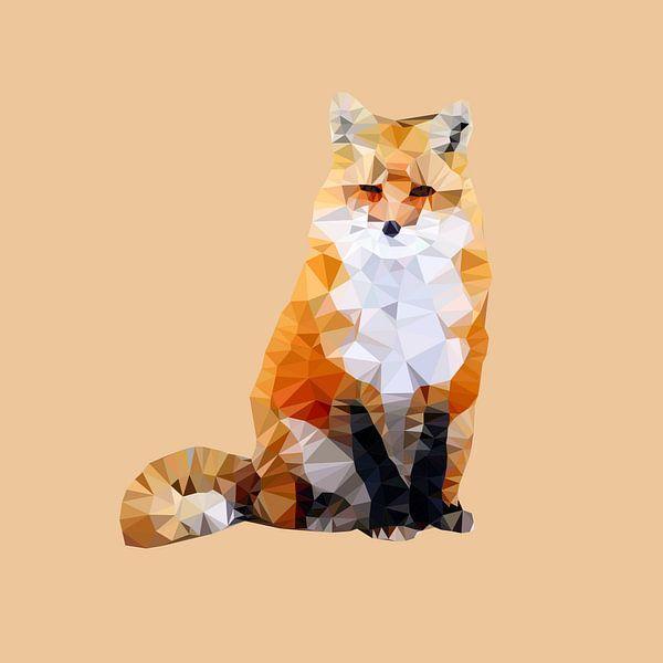 Wild uit het bos: de rode vos van Low Poly