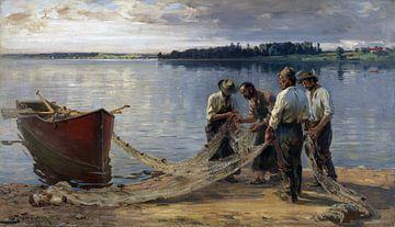 Netzflickende Fischer am Chiemseeufer, JOSEPH WOPFNER, Um 1885