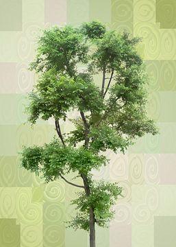 Retro - grün - Baum van Dagmar Marina