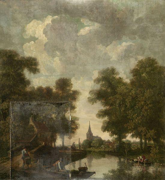 Behangselschildering met een Hollands landschap met rivier, Jurriaan Andriessen van Meesterlijcke Meesters