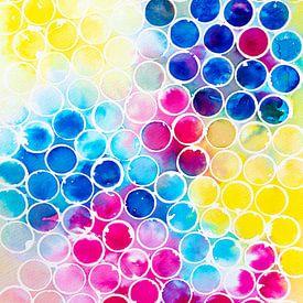 Bunte Blasen | Aquarellmalerei von WatercolorWall
