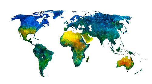 Wereldkaart vol kleur - Aquarel schilderij van - Wereldkaarten.shop -