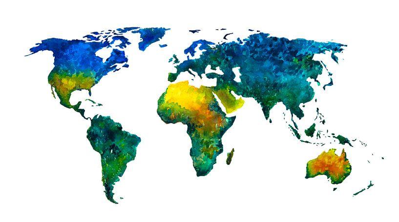 Wereldkaart vol kleur | Schilderij in aquarel van Wereldkaarten.Shop