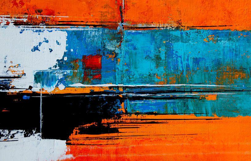 Résumé n°32 en orange et turquoise sur Claudia Neubauer
