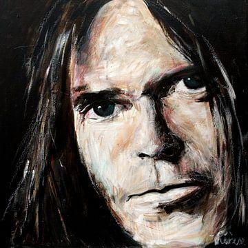 Portrait du jeune Neil Young. sur Therese Brals