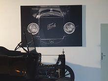 Klantfoto: Zwartwit Ford van Steven Langewouters, op canvas