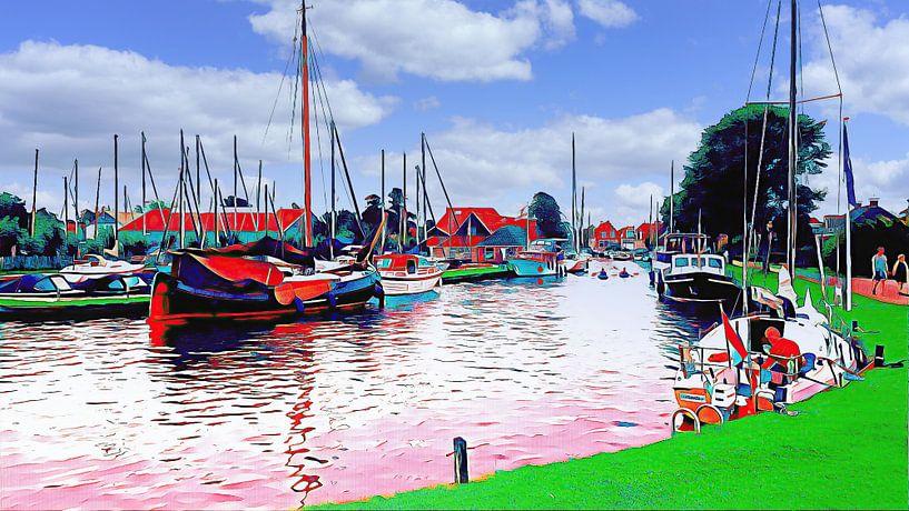 Hafen von Workum von Digital Art Nederland