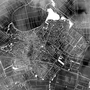 Zoetermeer Stadtplan | Schwarzes Aquarell | Quadratisch oder als Wandkreis von Wereldkaarten.Shop