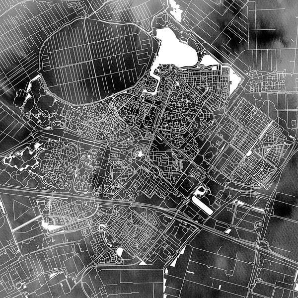Zoetermeer Stadskaart | Zwarte Aquarel | Vierkant of als Wandcirkel van Wereldkaarten.Shop