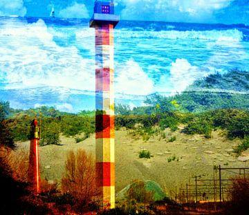 Vuurtoren en strand in Hoek van Holland 3D van Lovetassie Art