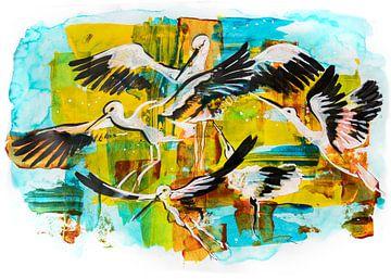 storks, acrylic illustration sur