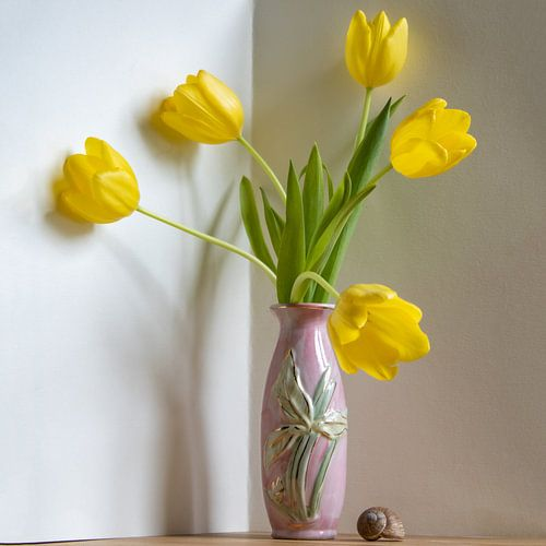 Tulpendans gele tulp roze vaas