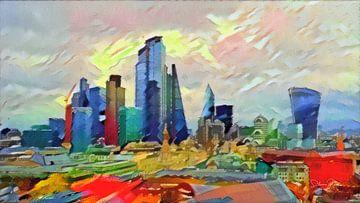 Expressionistisch Schilderij Londen Skyscrapers in stijl van Kandinsky