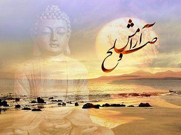 Frieden Buddhabild mit Kalligrafie van Renate Knapp