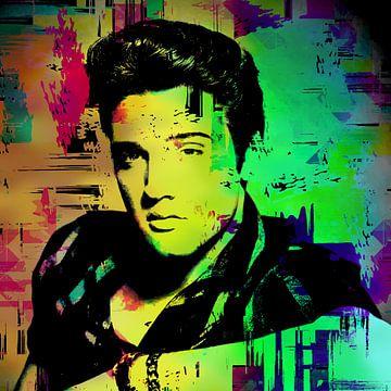 Elvis Presley Abstract Pop Art Portret in  Rood Groen Blauw van Art By Dominic