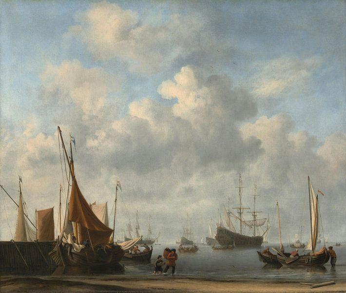 Einfahrt in einen niederländischen Hafen, Willem van de Velde der Jüngere von Meesterlijcke Meesters