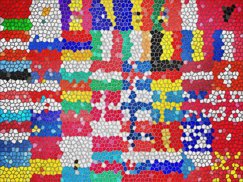 Vlaggen van Europa 6: glas in lood van Frans Blok