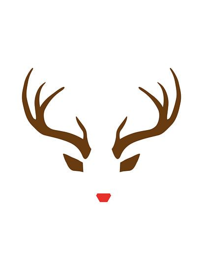 Rudolph the Red-Nosed Reindeer - Minimalistische Kerst Print