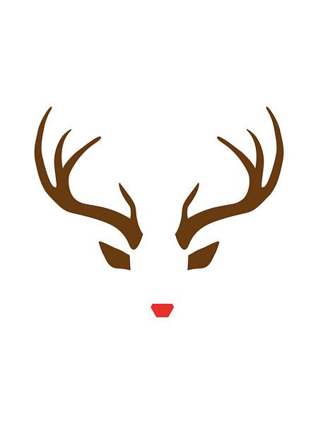 Rudolph the Red-Nosed Reindeer - Minimalistische Kerst Print van MDRN HOME