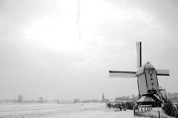 molen Batenburg in de sneeuw von Henk Hulshof