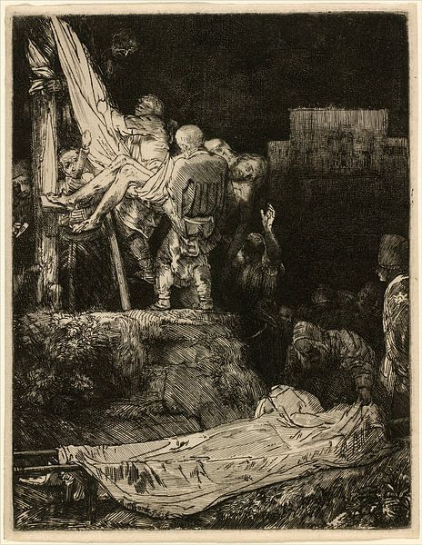 Rembrandt van Rijn, De Kruisafneming bij Toorts licht van Rembrandt van Rijn