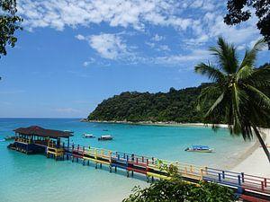 Steiger op het Perhentian Eiland in Maleisië van Desiree Francke