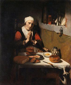 Oude vrouw in gebed, bekend als 'Het gebed zonder end', Nicolaes Maes sur