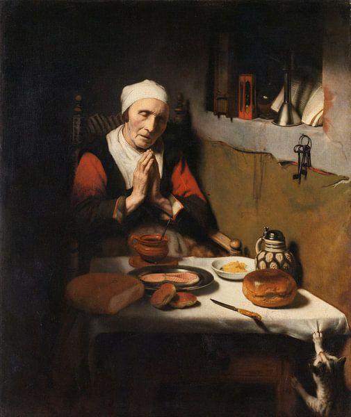 Oude vrouw in gebed, bekend als 'Het gebed zonder end', Nicolaes Maes van Meesterlijcke Meesters